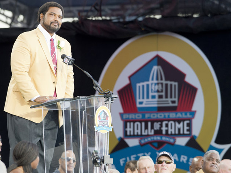 CANTON, OH - AUGUST 3: Fromer offensive lineman Jonathan Ogden of the Baltimore Ravens gives his speech during the NFL Class of 2013 Enshrinement Ceremony at Fawcett Stadium on Aug. 3, 2013 in Canton, Ohio. (Photo by Jason Miller/Getty Images)